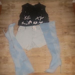 H&M Light Blue Denim Jean Shorts